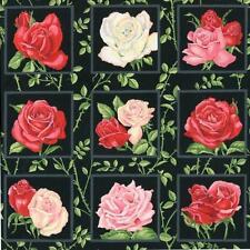 Jardín de rosas rosas paneles Colchas de retazos de tela 50 paneles cada 8 Cm Cuadrado