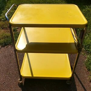 """VINTAGE YELLOW """"COSCO"""" STYLE ROLLING WHEELED KITCHEN CART WITH CHROME HANDLE"""