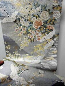 "Japanese Kimono SILK Fukuro OBI, Rokutu ,Gold,/Silver, Flying Crane,L170""..1464"
