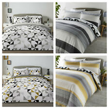 Reversible Geometric Triangles and Stripes Duvet Quilt Cover Set - Grey OR Ochre