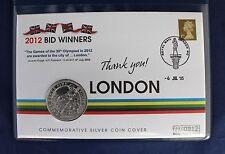 "2005 Silver 1oz Britannia £2 Coin Cover ""2012 Bid Winners"" in Folder  (Z7/3)"