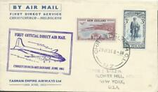 NEW ZEALAND - 1951  'FIRST OFFICIAL DIRECT AIR MAIL'  Tasman Airways  [A1599]