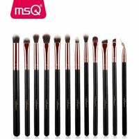 MSQ 12pcs Eyeliner Makeup Brush Set Foundation Eyeshadow Synthetic Hair + PU Bag