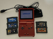 Nintendo Game Boy Advance SP Handheld System - Flame Red Bundle W/ 5 Games.