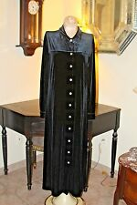 Vintage Classic Sarah Chapman Long Black Velvet Button Front Dress / 8