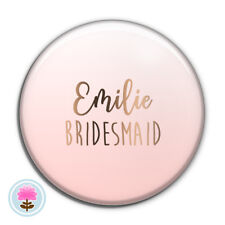 Personalised OMBRE Rose Gold Foil POCKET MIRROR 58mm BRIDESMAID Wedding/Hen Gift
