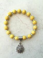Bracelet 8mm Yellow Dragon Vein Beads Silver Tone Sun Charm Bail Spacers Finding