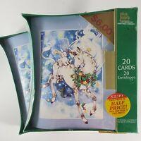 Vtg Unicorn Christmas Cards Plus Mark American Greetings Bunny Fantasy NEW 1991