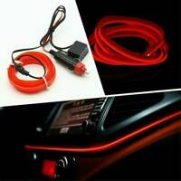 2M Neon Red LED Light Glow EL Wire Car 12V Home Decor Lamp Strip Rope Tube AU