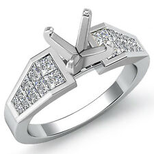 1.00 Ct Princess Diamond Engagement Setting Wedding 14K White Gold Ring F VS1