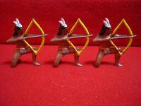 3 Vintage Barclay 1930s Lead American Indian Kneeling Shooting Bow & Arrow #755