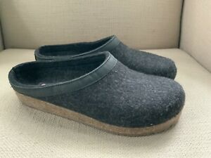 Haflinger Grizzly Charcoal Wool Clogs Slippers EUR 43 US Mens 10-10.5 Excellent