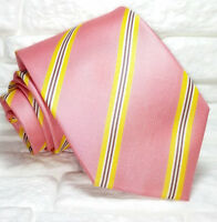 Striped men's silk necktie TRE brand Italy wedding / business ties pink yellow .