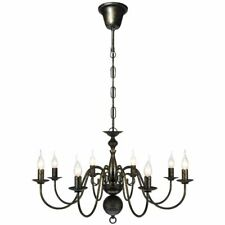 Antique Black Metal Chandelier 8 Bulbs Pandent Ceiling Lamp Lighting Fixture