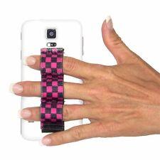LAZY-HANDS 3-Loop Phone Grip - BLACK/PINK CHECKERS