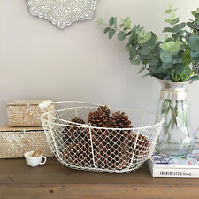 Antique White Wire Basket With Handle/Storage/Kitchen/Bathroom/Fireplace/Pantry