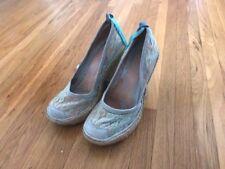 Irregular Choice light blue suede&lace espadrille-pump, US 6-6.5, ankle wrap