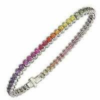 Estate Multicolor Rainbow Sapphire Bezel Set 14k White Gold Over Tennis Bracelet
