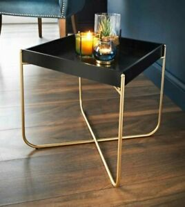 NEW Tray Table Gold Legs & Black Tray Coffee Table With Removable Tray Top