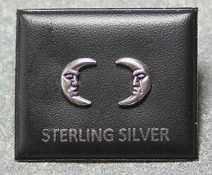 STERLING SILVER 925, STUD EARRINGS CRESCENT MOON DESIGN 10mm x 7mm STUD 202