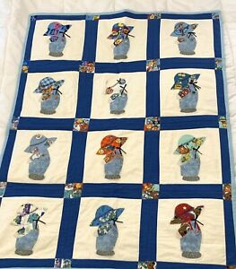 Bonnet Sue Quilt Embroidered Patch Work Quilt Squares Disney Theme Crib Blanket