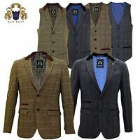 Mens Marc Darcy Tweed Blazer Waistcoat Formal Smart Casual Dinner Jacket Lined