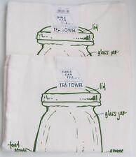 2 Girls Can Tell Mason Jar Pattern Floursack Tea Towel USA Made Handprinted NEW