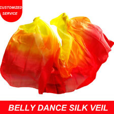 Women Belly Dance Silk Veil Veils Cheap Dance Gradiant Veil Red Orange Yellow