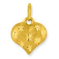 10 KT Yellow Gold Satin Diamond Cut Yellow Gold Heart Charm Pendant NEW