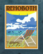 Rehoboth Beach Chair (Framed) Art Deco Style Travel Poster -by Aurelio Grisanty
