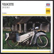 1953 Velocette 200cc LE Mk II Mark 2 192cc Motorcycle Photo Spec Sheet Info Card
