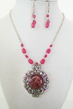 ICON PINK MULTI CERAMIC NECKLACE ACRYLIC BEAD SILVER DANGLE EARRINGS JEWELRY SET
