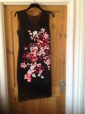Lipsy Size 16 Black/Hot Pink Lace Dress