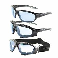 Titus Swappable Anti-Fog Goggles Sports Riders Safety Glasses Strap or Stem Blue