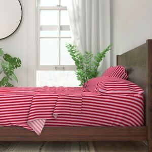 Red And Pink 1/2 Inch Stripe 100% Cotton Sateen Sheet Set by Roostery