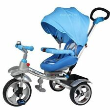 2018 3 WHEELS ALUMINIUM TRICYCLE RIDE ON TOY BABY PRAM STOLLER JOGGER CAR {Blue}