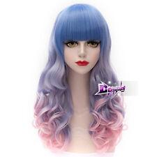 Fashion Pink Mixed Blue Long 65CM Curly Lolita Harajuku Cosplay Wig with Bangs