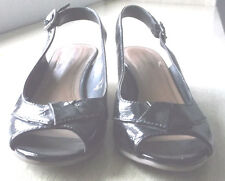 """Comfort Plus By Predictions Womens Black Patent Leather Size 6 1/2 Wedgies 2"""""""