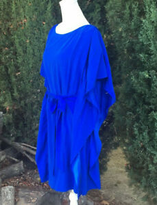Suzi Chin for Maggy Boutique Belted Batwing Caped Silk Blend Dress Sz 12 Blue