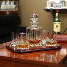 Pesonalized Irish Galway Crystal Longford Square Whiskey Decanter & 4 Glasses