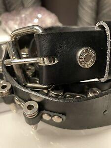 Funk Plus Genuine Black Leather With Metal Retractable Bullets Bullet Belt M