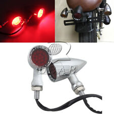 Chrome Red Lens 20 LED Motorcycle Stop Brake Running Turn Signal Tail Light Pair