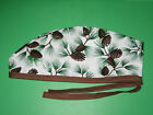 Surgical Scrub Hats caps Winter Pine branches w/ pinecones  Sparkles brown tie