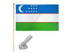 New listing 5' Wooden Flag Pole Kit W/ Nylon White Bracket 3x5 Uzbekistan Polyester Flag