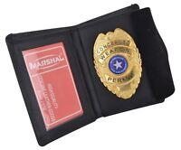 Genuine Leather Slim Thin Bifold ID Money Wallet Oval Shape Badge Holder