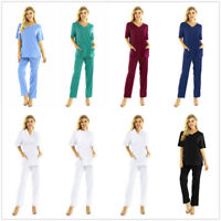 Men Women Medical Hospital Doctor Nursing Scrubs Uniform 2 Piece Suits Workwear
