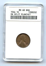 1964 LINCOLN CENT (1C) ON SPLIT PLANCHET -ANACS MS60BN-RARE-MINT ERROR-