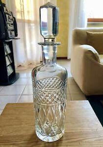 Bottiglia per liquore in cristallo molato lavorato - Vintage anni 50 - 33 x 9 cm