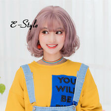 35CM Short Curly Lolita Mixed Ash Pink Women Fashion Cosplay Wig With Thin Bangs
