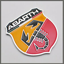 Fiat Abarth Chrome Badge.  Self Adhesive. Fiat 500, Punto, Bravo, Uno, Panda